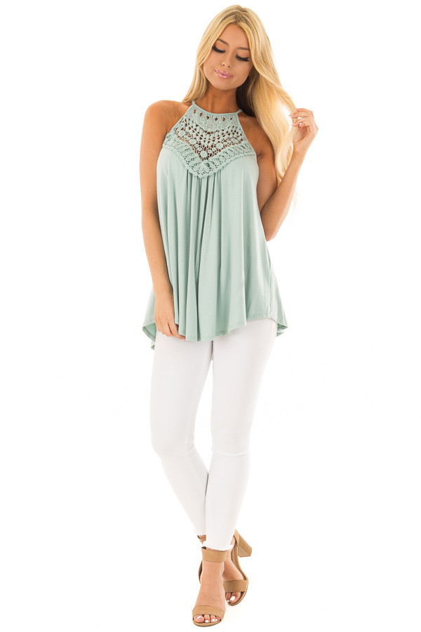Dusty Sage Tank Top with Sheer Lace Chest front full body