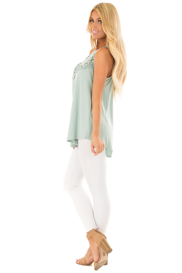Dusty Sage Tank Top with Sheer Lace Chest side full body