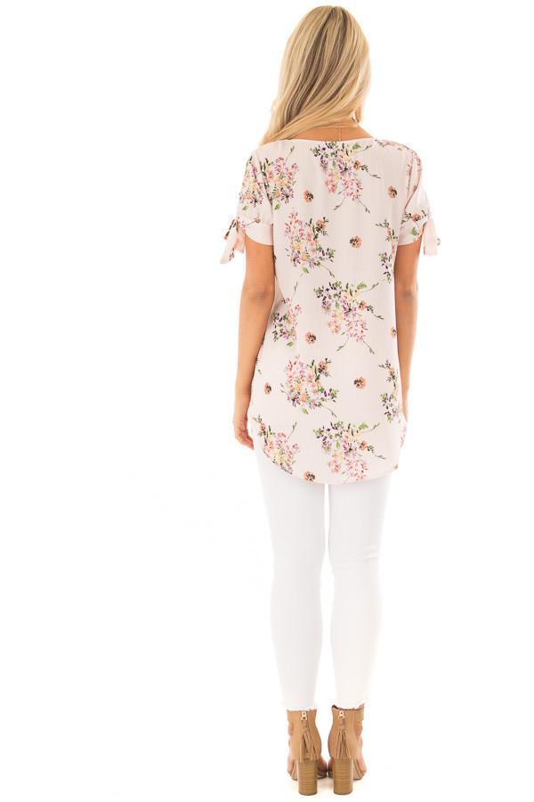 Blush Striped Floral Top with Tie Detail on Sleeves back full body