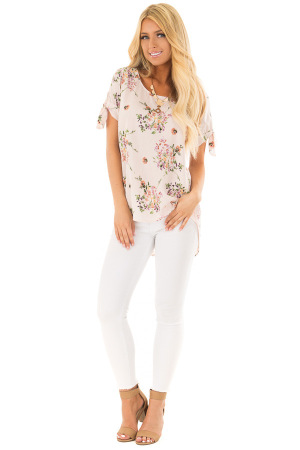 Blush Striped Floral Top with Tie Detail on Sleeves front full body
