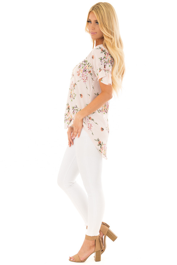 Blush Striped Floral Top with Tie Detail on Sleeves side full body