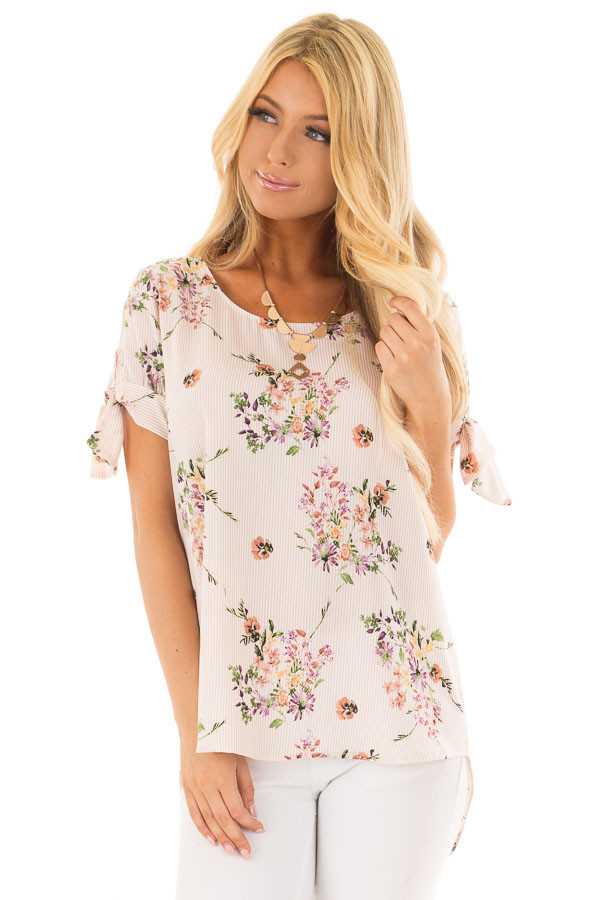 Blush Striped Floral Top with Tie Detail on Sleeves front close up