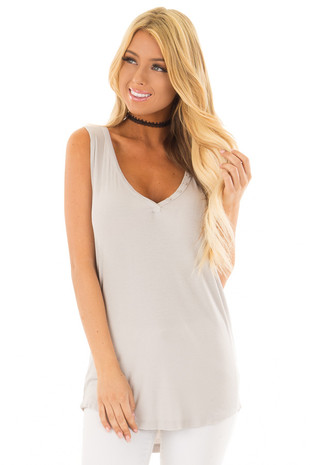 Cloud Grey Ribbed Knit Buttoned V Neck Tank Top front close up