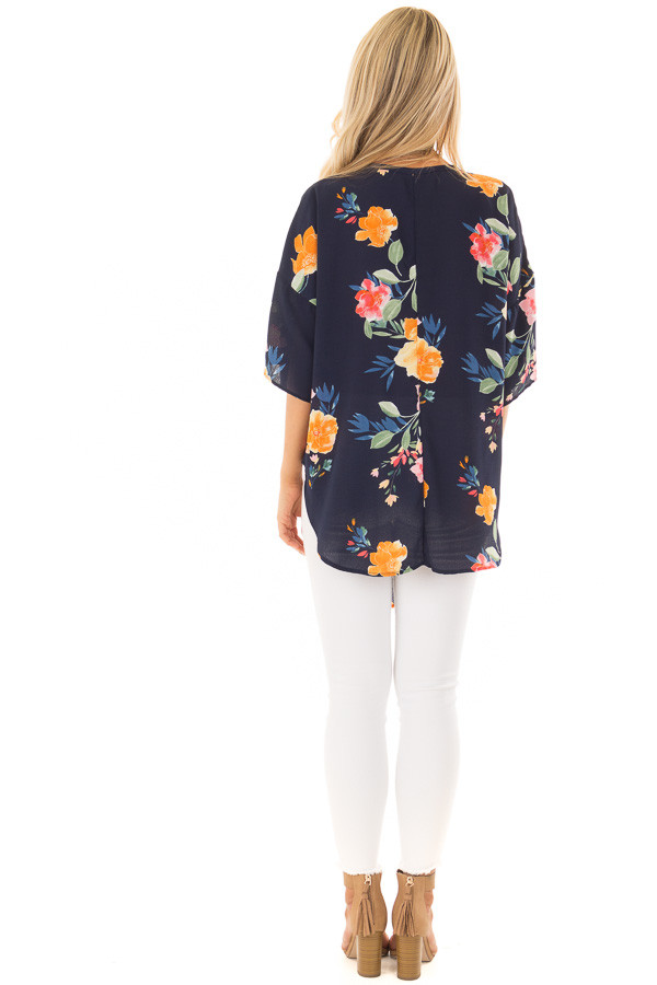 Navy Floral Button Up Top with Front Tie Detail back full body