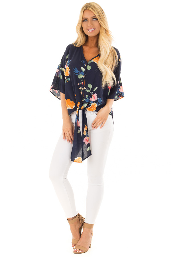 Navy Floral Button Up Top with Front Tie Detail front full body
