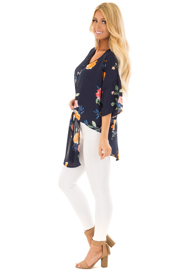 Navy Floral Button Up Top with Front Tie Detail side full body