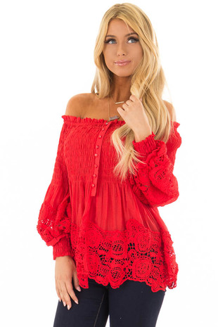 Tomato Red Off the Shoulder Long Sleeve Top front close up