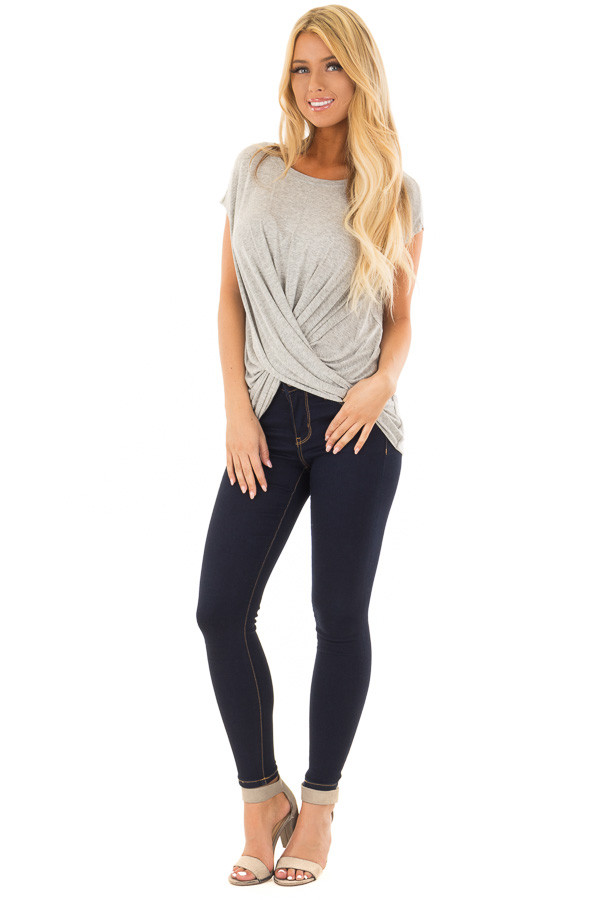 Heather Grey Top with Crossover Twisted Hemline front full body
