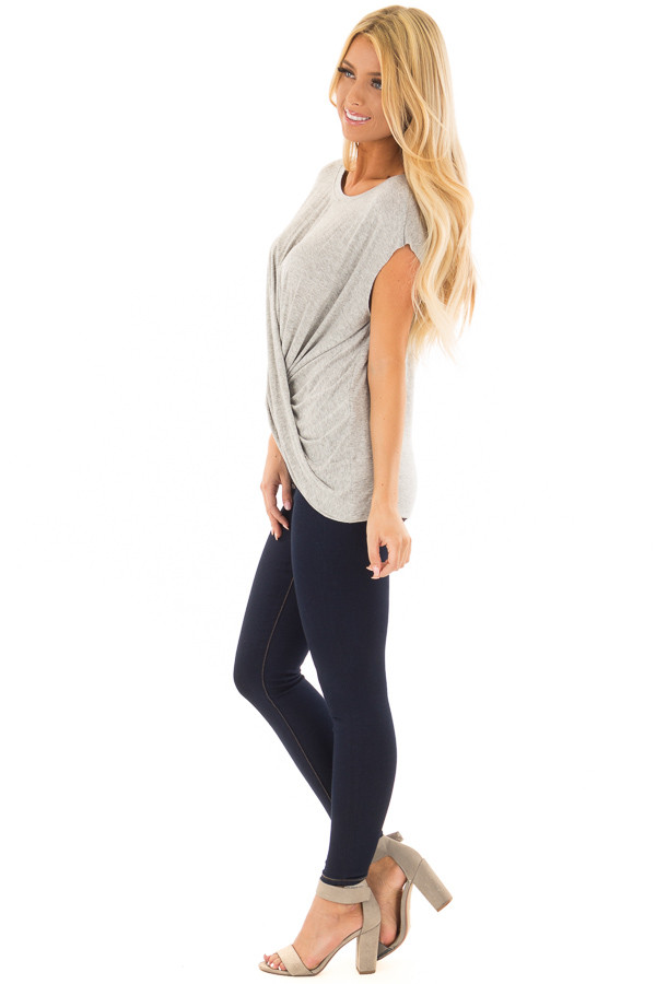 Heather Grey Top with Crossover Twisted Hemline side full body