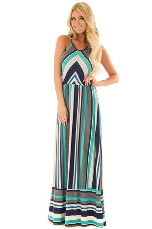 Jade Multi Color Striped Maxi Dress front full body