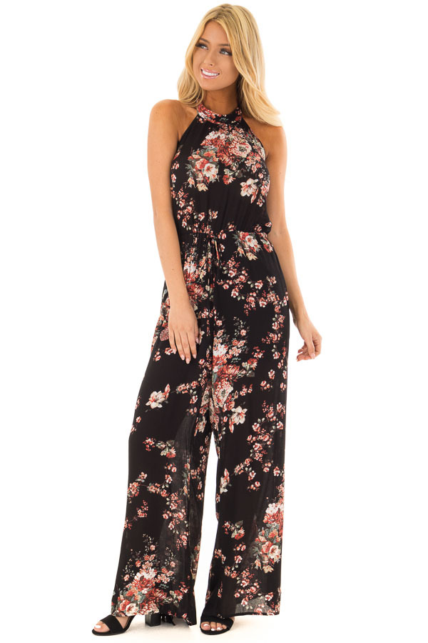 Black Floral Print Halter Jumpsuit with Pockets front full body