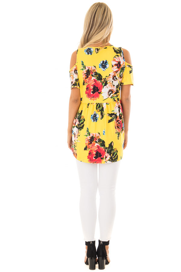 Canary Yellow Floral Print Super Soft Cold Shoulder Tunic back full body