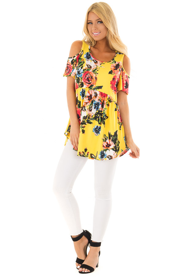Canary Yellow Floral Print Super Soft Cold Shoulder Tunic front full body