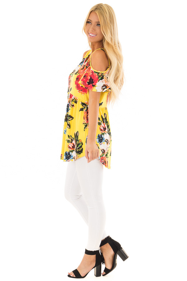 Canary Yellow Floral Print Super Soft Cold Shoulder Tunic side full body