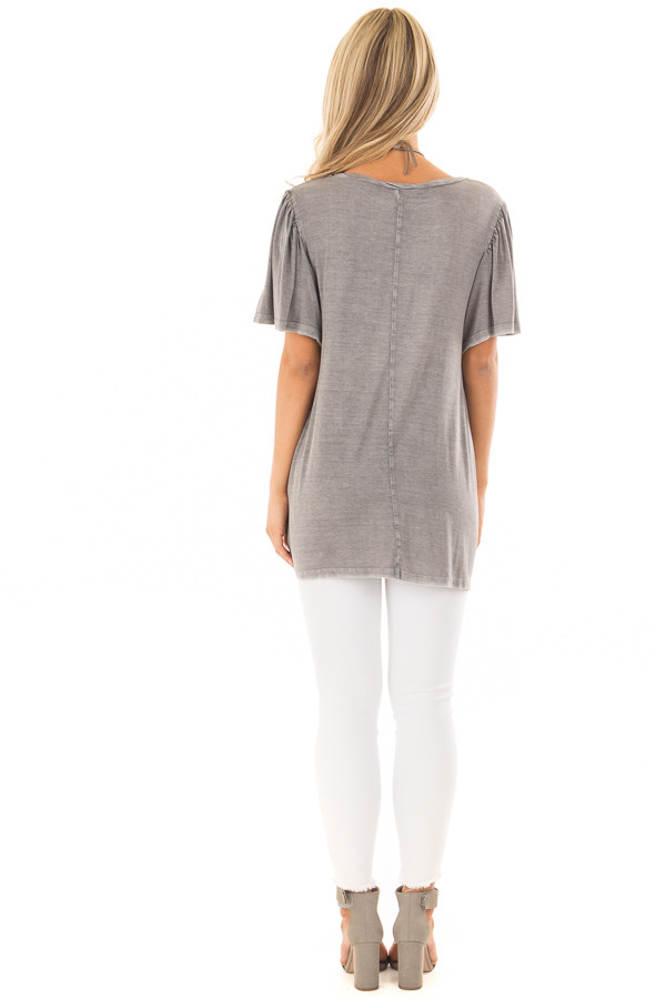 Charcoal Mineral Wash Comfy Tee with Winged Sleeves back full body