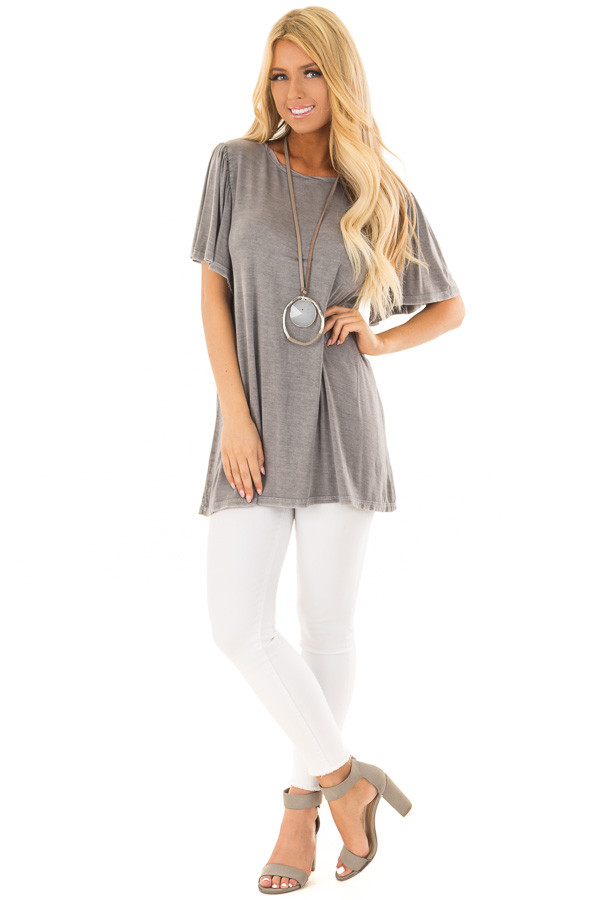 Charcoal Mineral Wash Comfy Tee with Winged Sleeves front full body