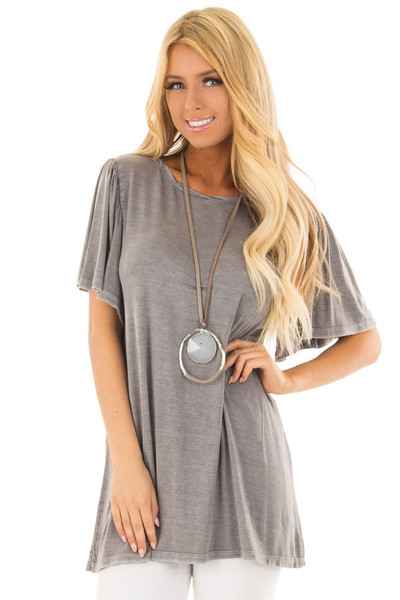 Charcoal Mineral Wash Comfy Tee with Winged Sleeves front close up