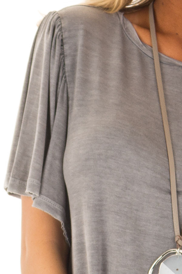 Charcoal Mineral Wash Comfy Tee with Winged Sleeves detail