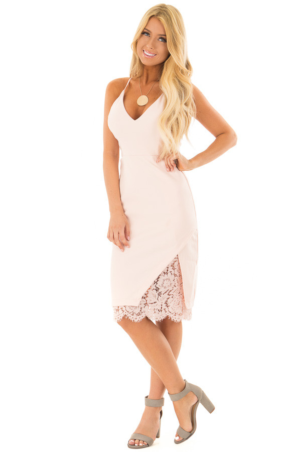 Blush Fitted Dress with Lace Details front full body