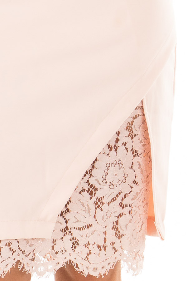 Blush Fitted Dress with Lace Details detail