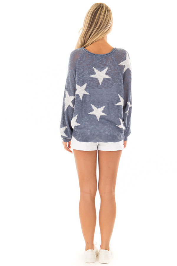 Steel Blue Comfy V Neck Sweater with Star Print back full body