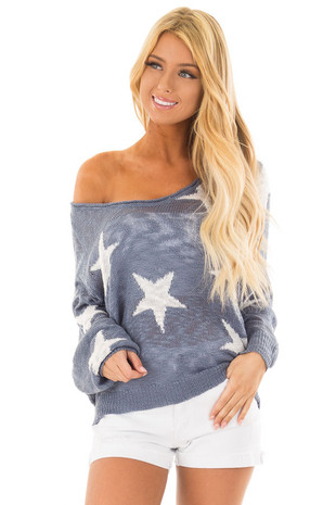 Steel Blue Comfy V Neck Sweater with Star Print front close up