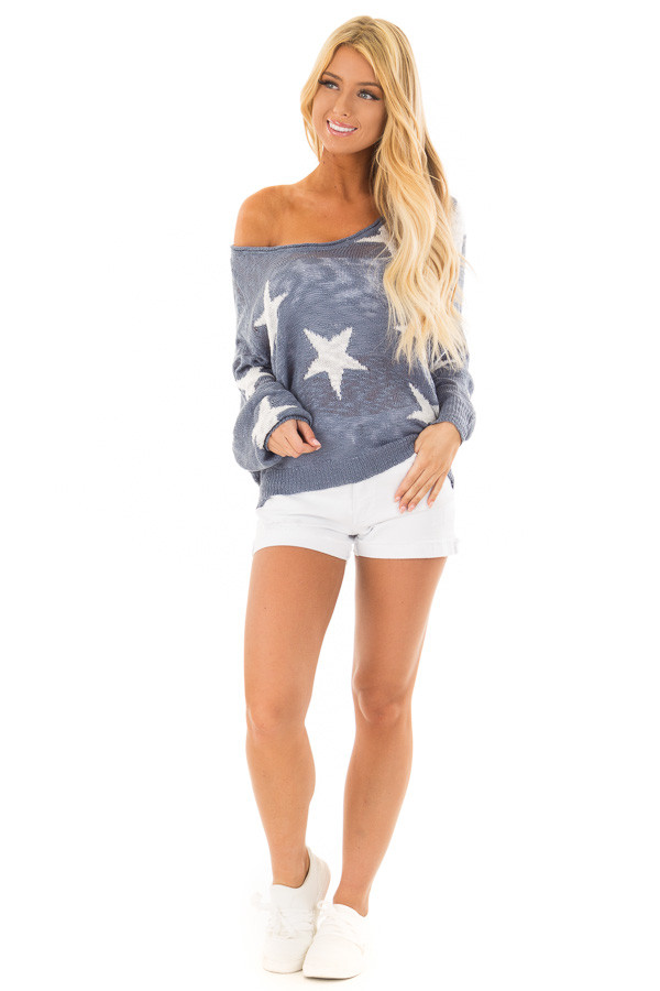 Steel Blue Comfy V Neck Sweater with Star Print front full body