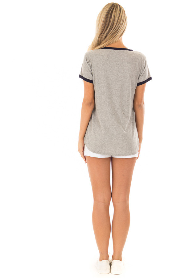 Heather Grey Short Sleeve Top with Navy Contrast back full body