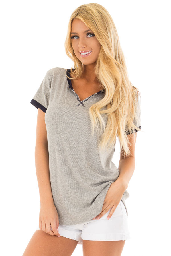 Heather Grey Short Sleeve Top with Navy Contrast front close up