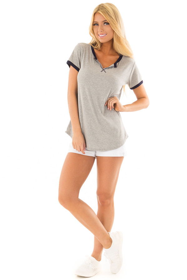 Heather Grey Short Sleeve Top with Navy Contrast front full body