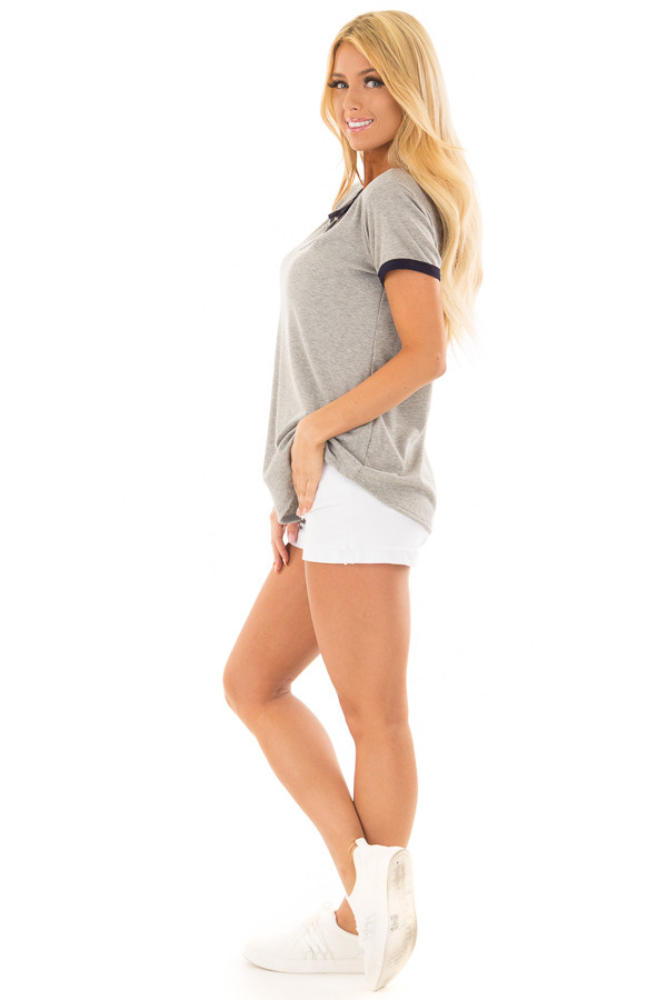 Heather Grey Short Sleeve Top with Navy Contrast side full body