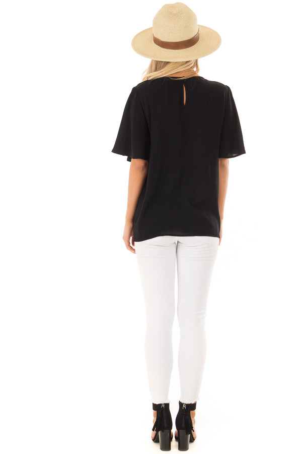 Black Colorful Embroidered Top with Flowy Sleeves back full body