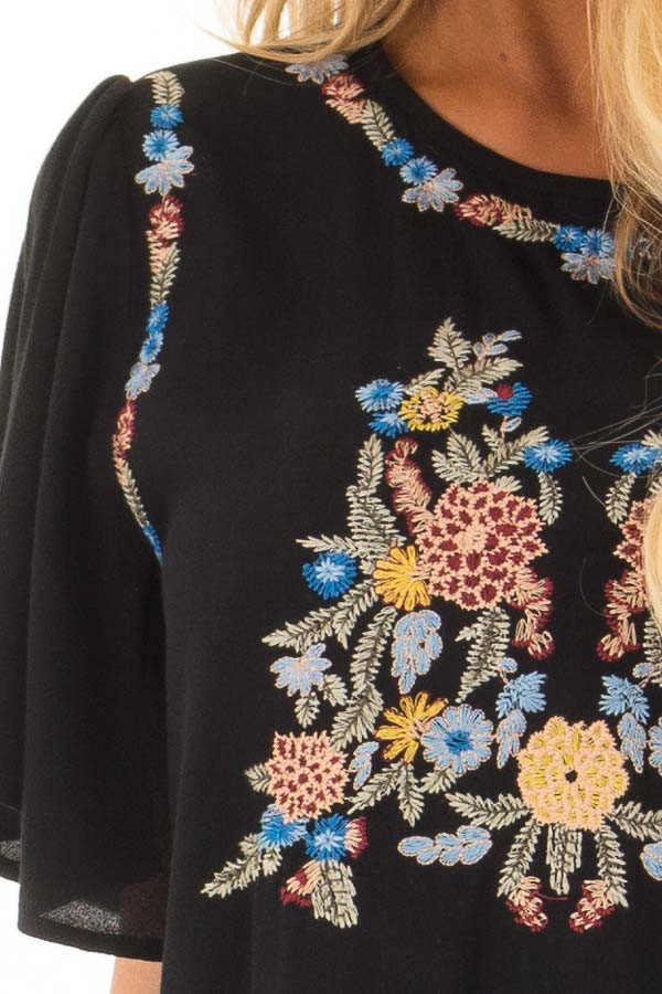 Black Colorful Embroidered Top with Flowy Sleeves detail
