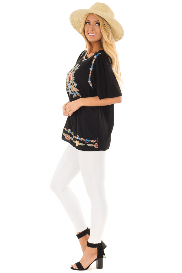 Black Colorful Embroidered Top with Flowy Sleeves side full body