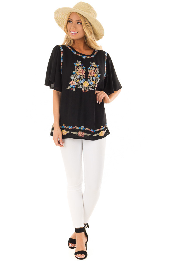 Black Colorful Embroidered Top with Flowy Sleeves front full body