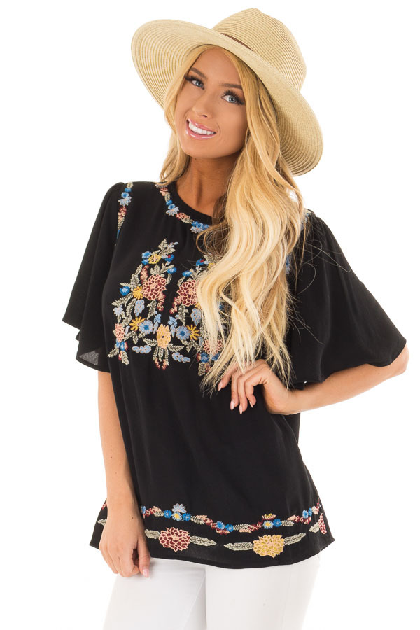 Black Colorful Embroidered Top with Flowy Sleeves front close up