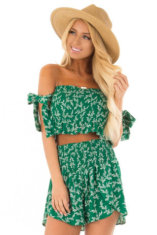 Emerald Green Leaf Print Two Piece Outfit front close up