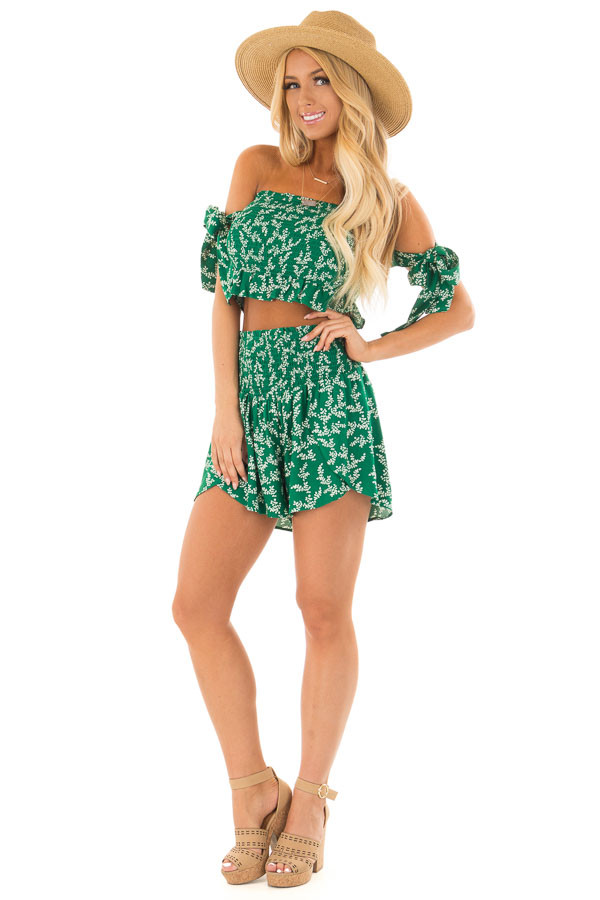 Emerald Green Leaf Print Two Piece Outfit front full body