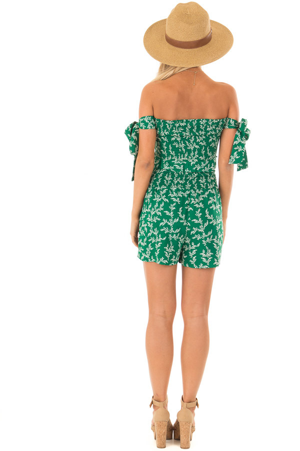 Emerald Green Leaf Print Two Piece Outfit back full body
