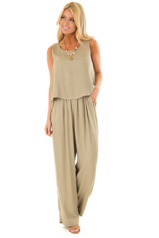 Dusty Sage Layered Jumpsuit front full body