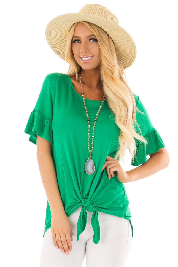 Kelly Green Short Sleeve Ruffle Top with Front Tie Detail front close up