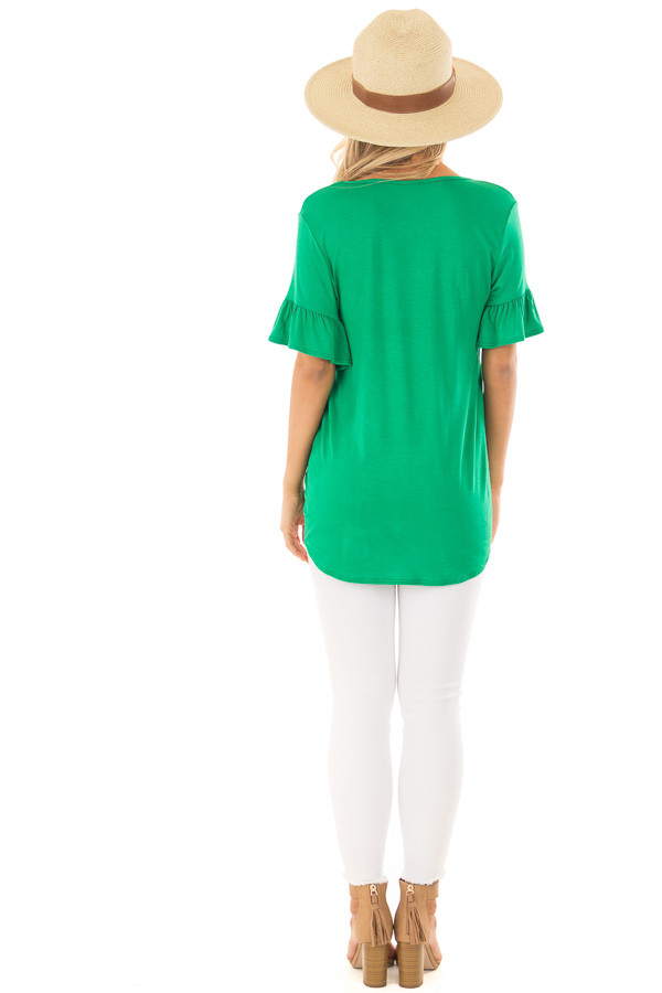 Kelly Green Short Sleeve Ruffle Top with Front Tie Detail back full body