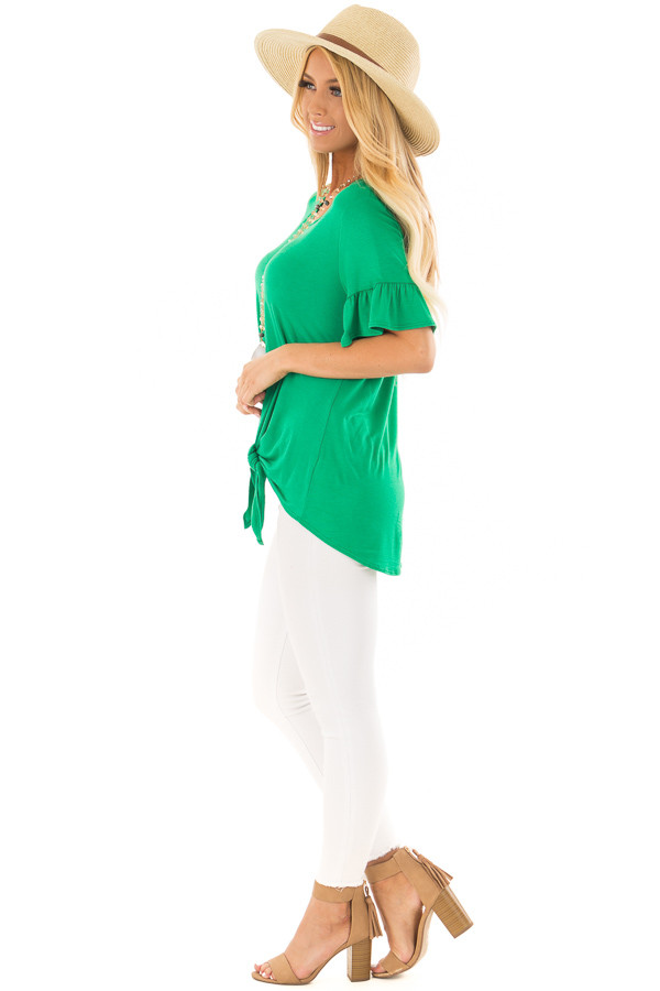 Kelly Green Short Sleeve Ruffle Top with Front Tie Detail side full body