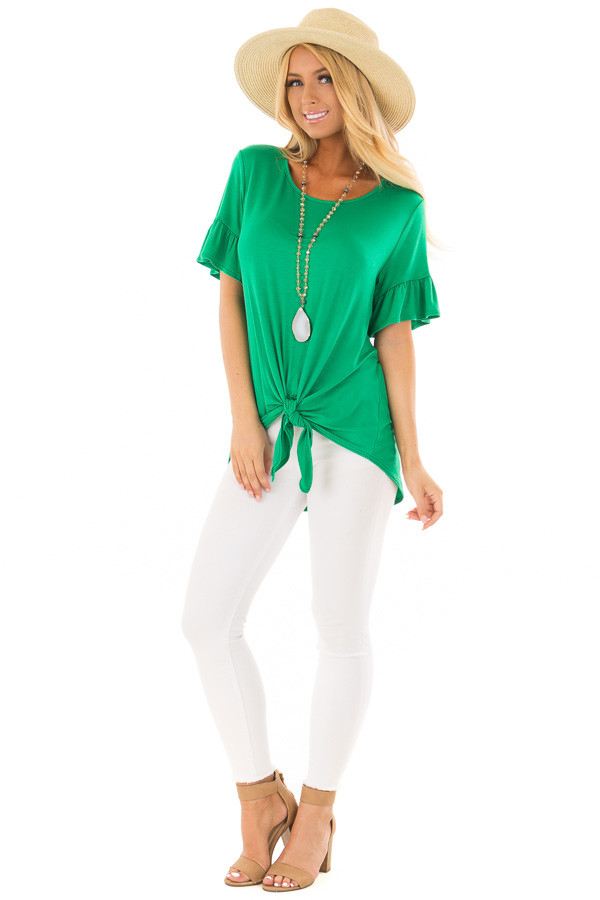Kelly Green Short Sleeve Ruffle Top with Front Tie Detail front full body