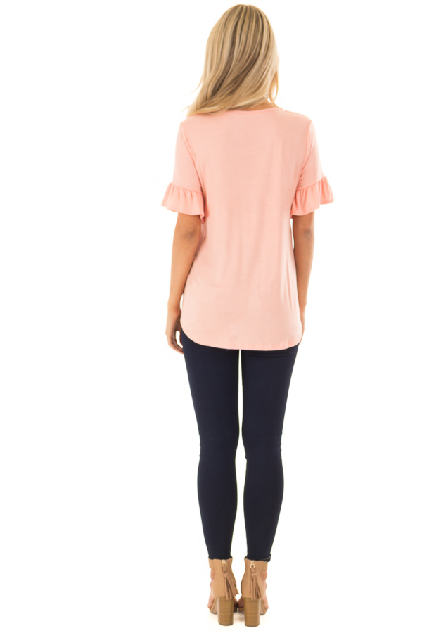 Peach Short Sleeve Ruffle Top with Front Tie Detail back full body