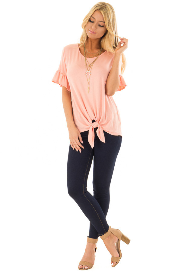 Peach Short Sleeve Ruffle Top with Front Tie Detail front full body