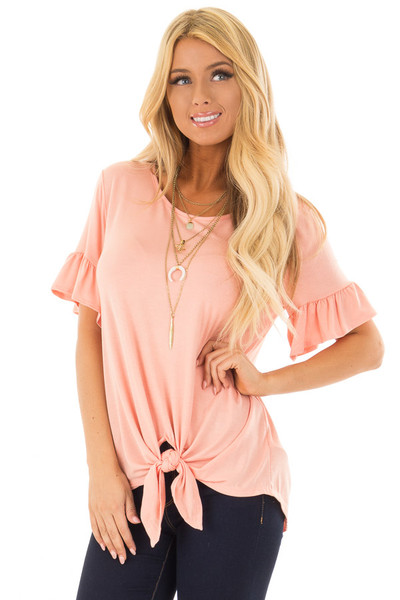 Peach Short Sleeve Ruffle Top with Front Tie Detail front close up