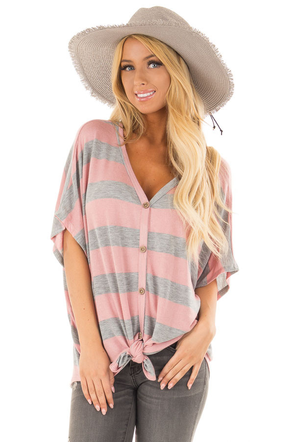 Blush and Grey Striped Top with Front Tie front close up
