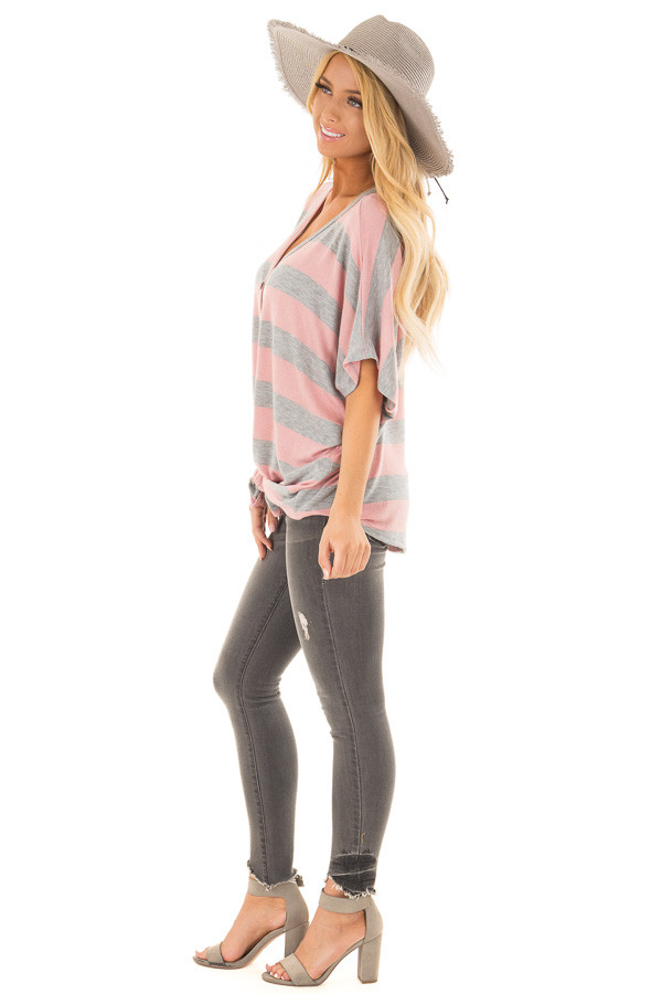 Blush and Grey Striped Top with Front Tie side full body