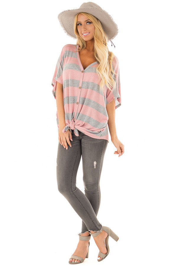 Blush and Grey Striped Top with Front Tie front full body